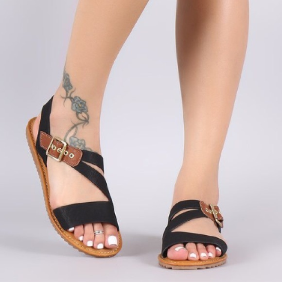 c72d2955fdf4 BAMBOO Shoes | Asymmetrical Strappy Flat Sandals | Poshmark
